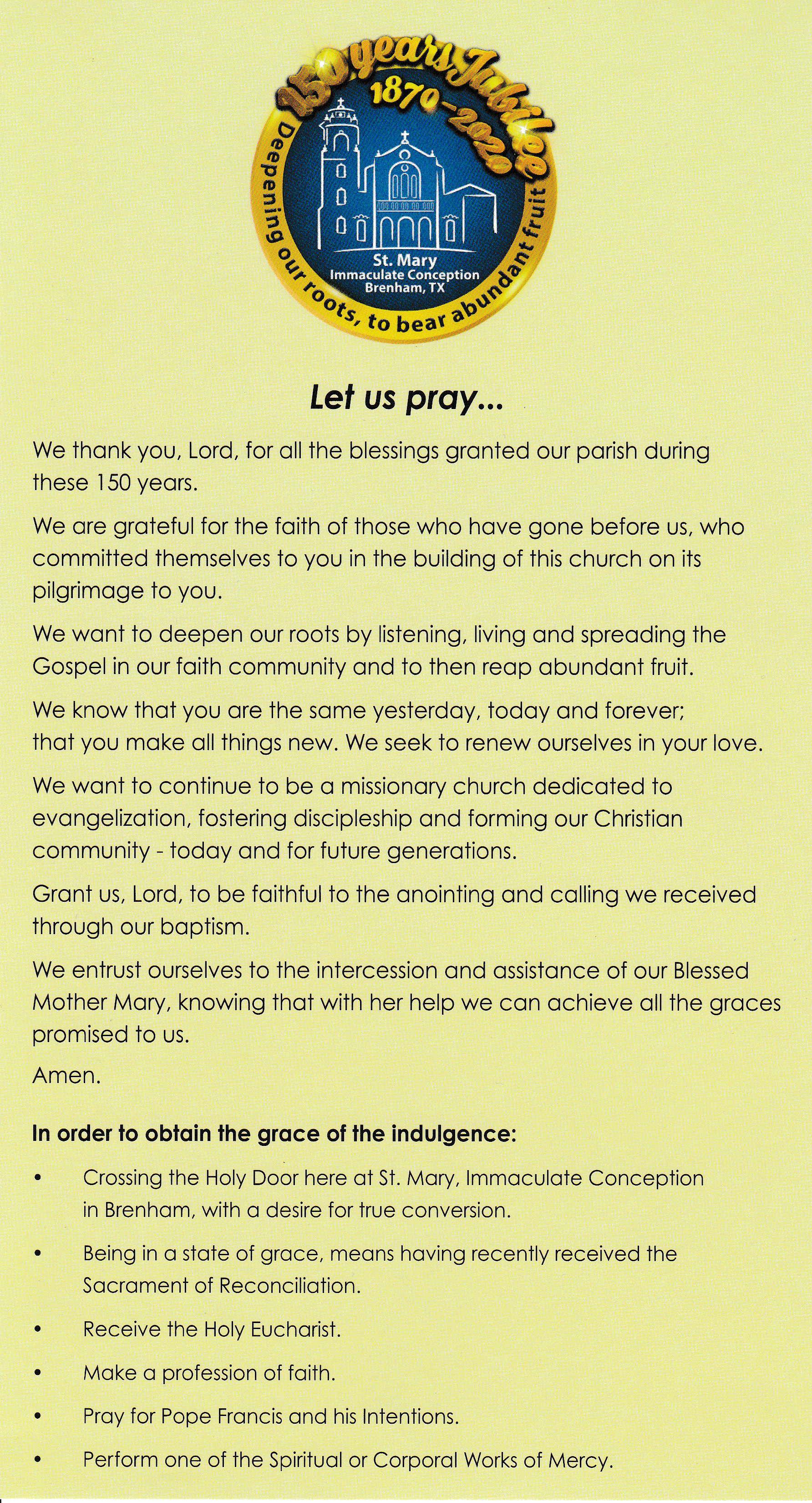 Jubile Prayer
